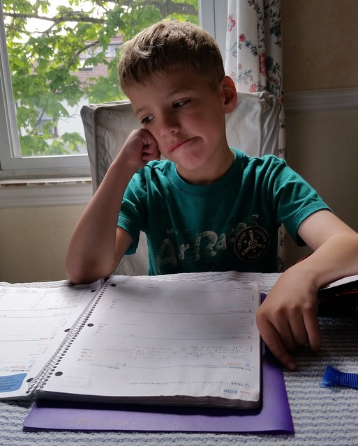 Homework boy child, people.