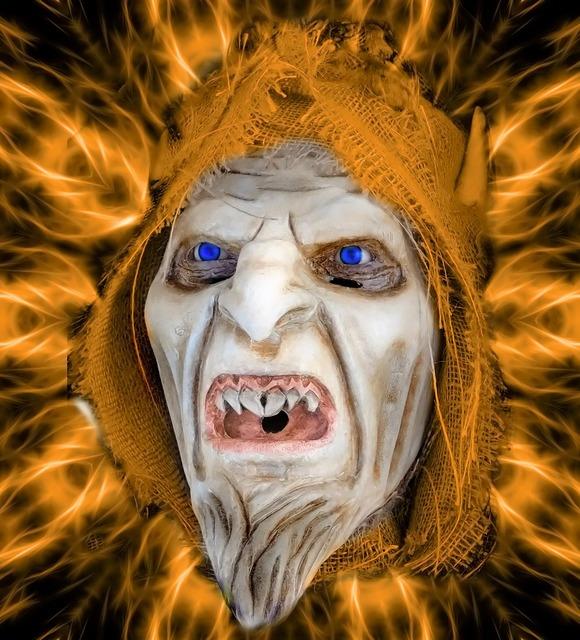 Horror devil mask, emotions.
