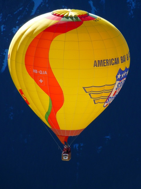 Hot air balloon colorful wind.