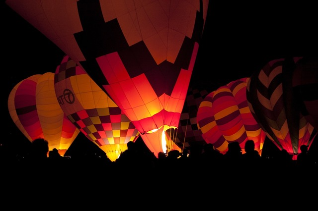 Hot air balloons flying floating.