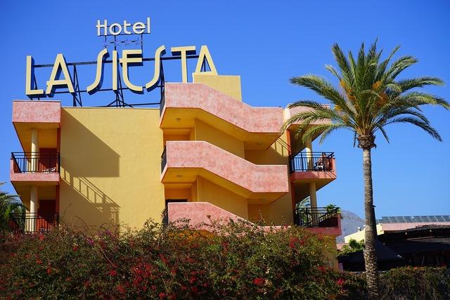 Hotel building playa de las americas, architecture buildings.