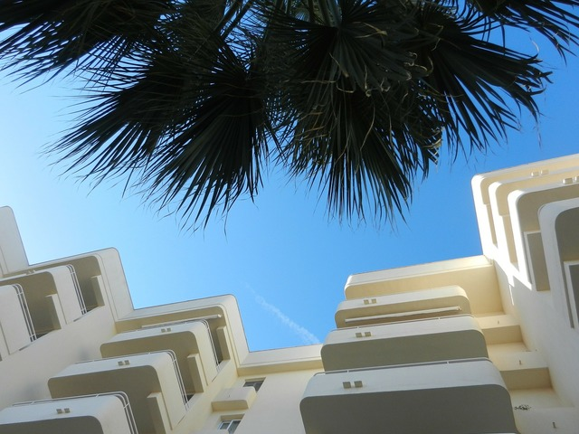 Hotel complex hotel palm trees, architecture buildings.