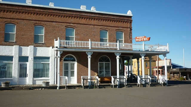 Hotel exterior ghost town.