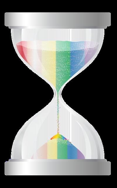 Hourglass timer rainbow.