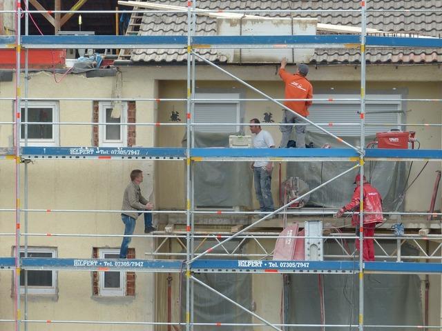 House construction maurer craftsmen, architecture buildings.