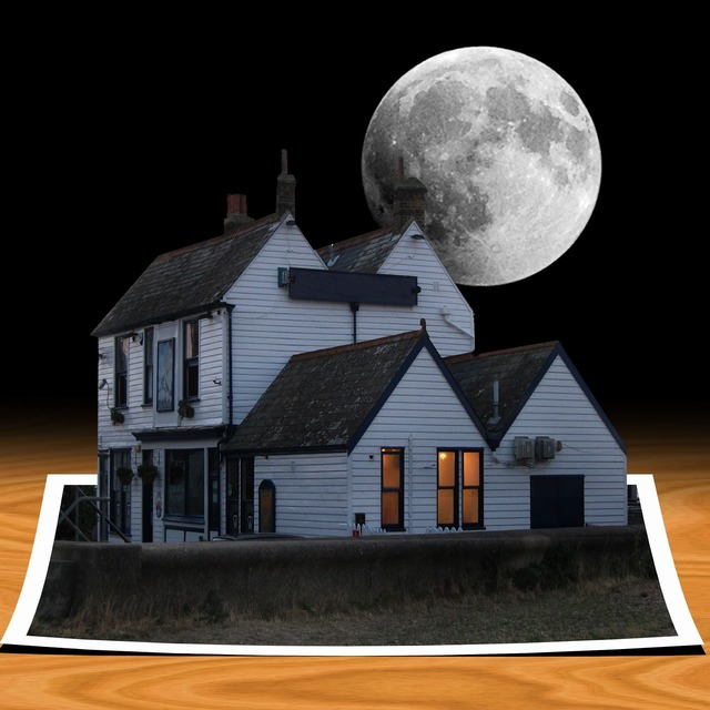 House moon card, architecture buildings.