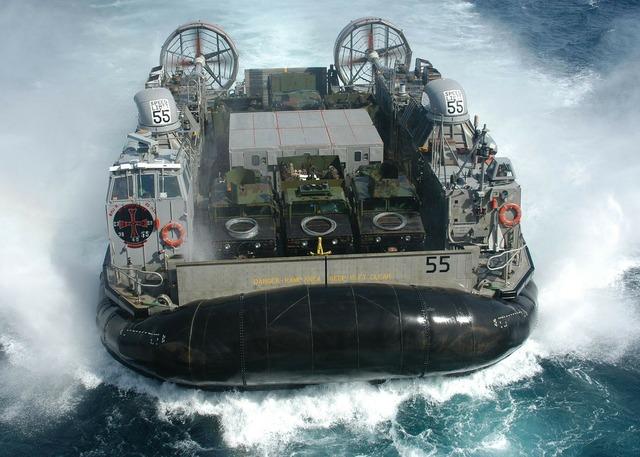 Hovercraft floating boat float.