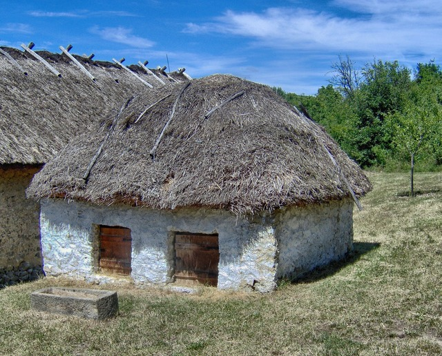 Hungary buildings thatched roof, nature landscapes.
