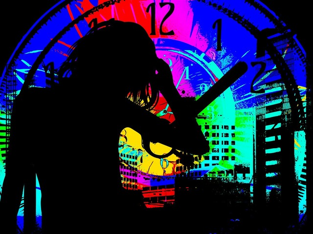 Hustle and bustle hours timer, architecture buildings.