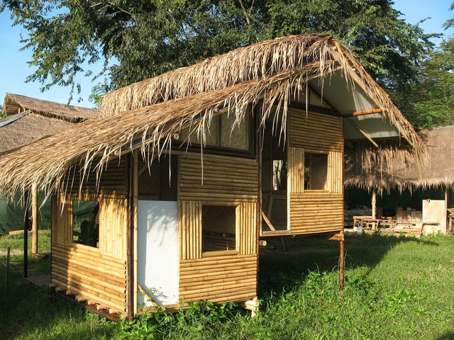 Hut bamboo home, architecture buildings.