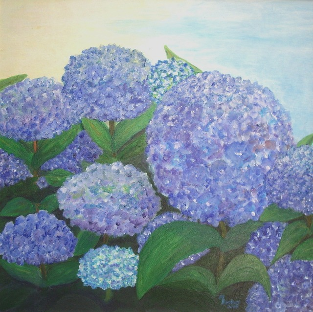 Hydrangeas blue painting, industry craft.