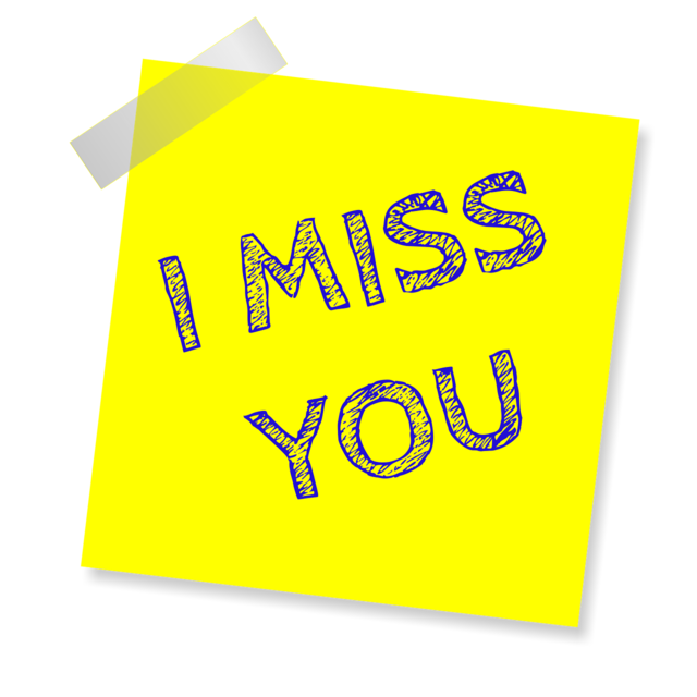 I miss you reminder post note.