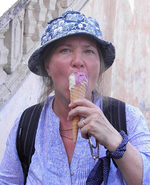 Ice cream woman granny, beauty fashion.