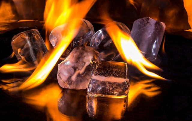 Ice cubes fire flame.