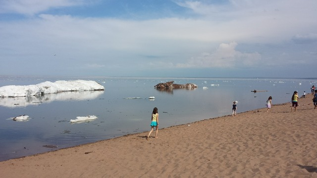 Ice summer lake.