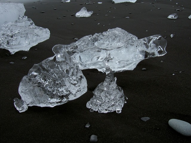 Ice transparent beach, travel vacation.