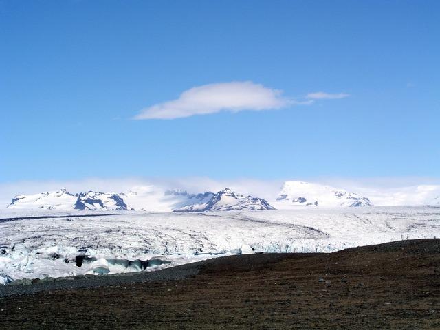 Iceland glacier volcanic landscape.