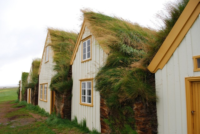 Iceland house ethnographic open air museum, architecture buildings.
