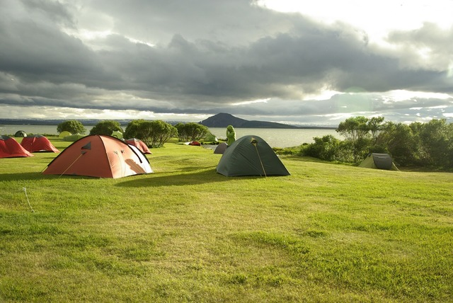 Iceland lake myvatn camping, travel vacation.