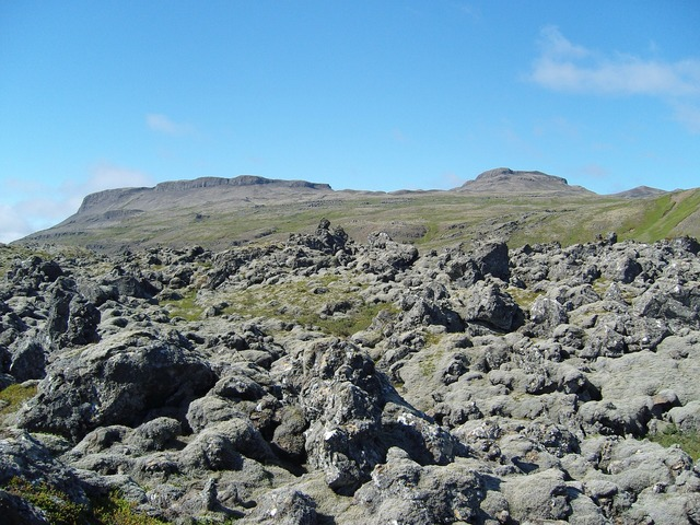 Iceland lava volcanic rock, nature landscapes.