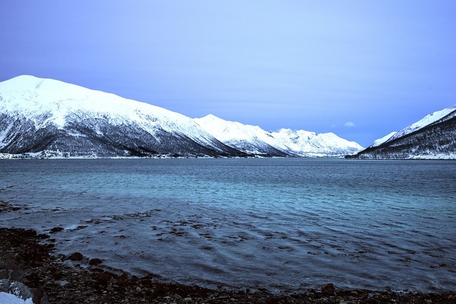 Iceland snow glacial lake.