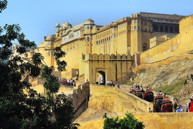 India amber fort, architecture buildings.