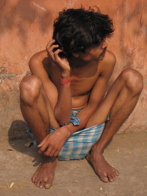 India beggars man, people.
