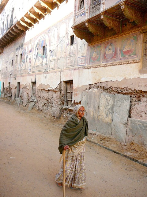 India old house old woman.