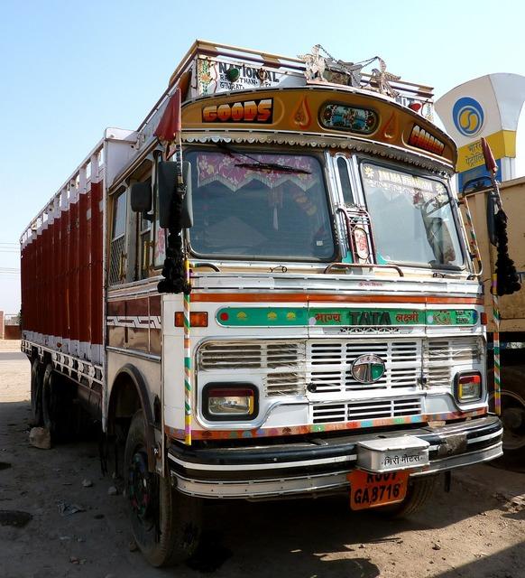 India truck vehicle, transportation traffic.