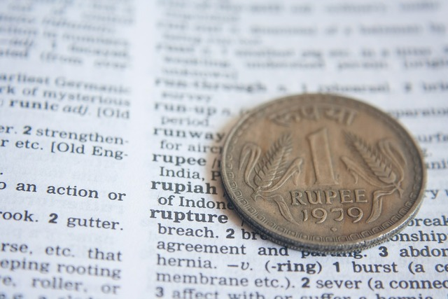 Indian rupee dictionary, business finance.