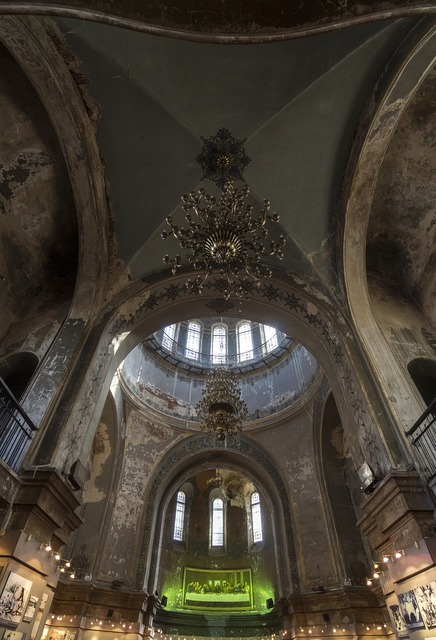 Indoor cathedral church, religion.