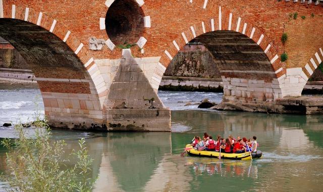Inflatable row stone bridge, architecture buildings.