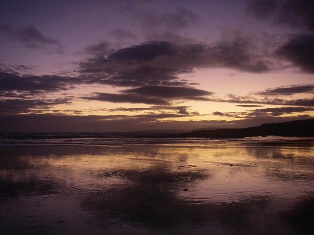 Ireland sea evening sky, travel vacation.