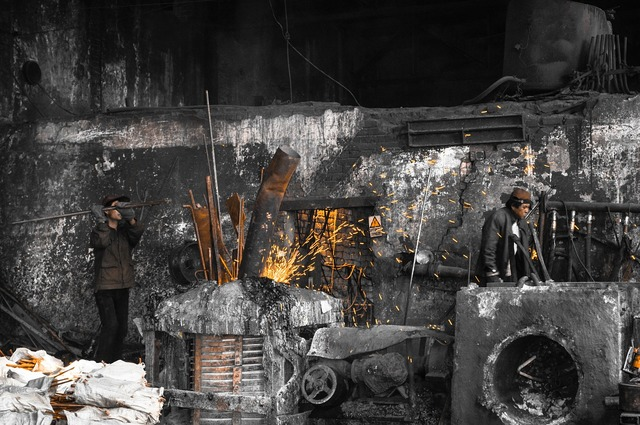 Iron melt furnace, industry craft.