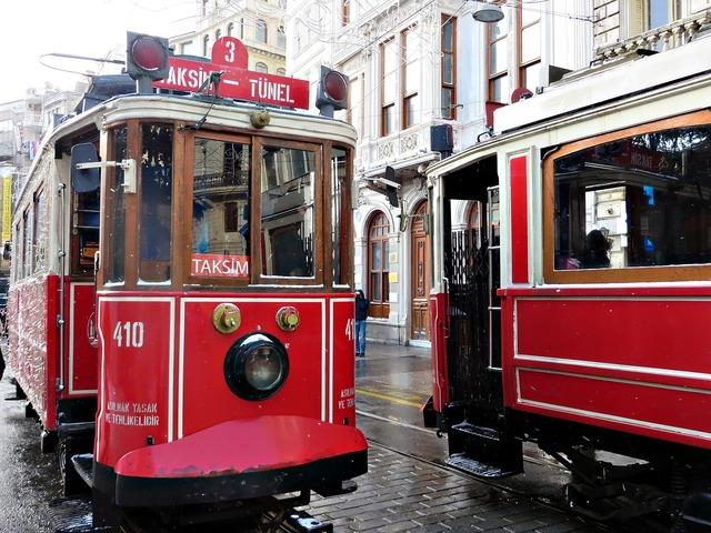 Istanbul tram transport, transportation traffic.