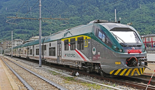 Italy rail- cars regional traffic, transportation traffic.