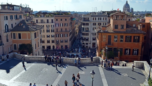 Italy rome looking down the trevi fountain.
