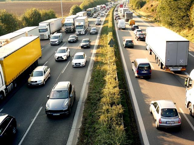 Jam highway site, transportation traffic.