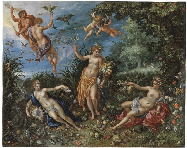 Jan brueghel painting abundance and the four elements.