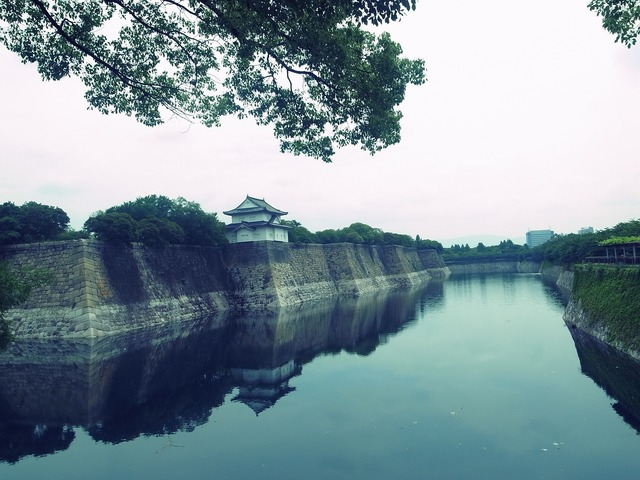 Japan castle river.