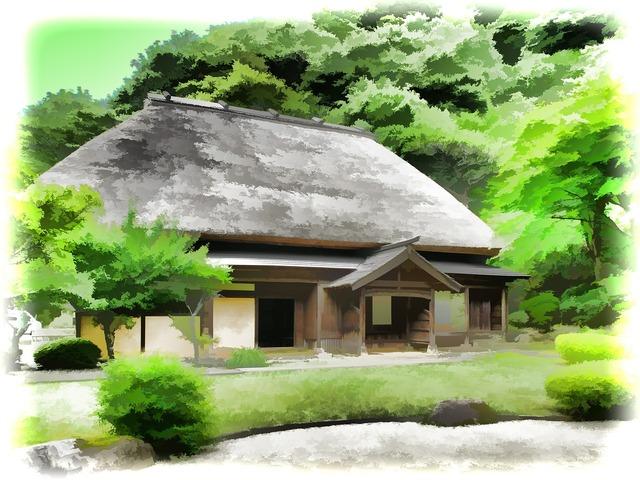 Japan rural houses straw.