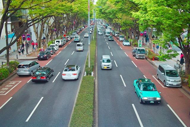 Japan street road, transportation traffic.