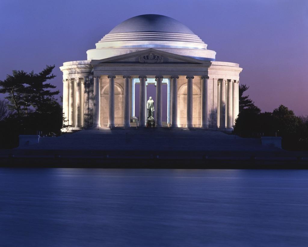 Jefferson memorial washington dusk, places monuments.