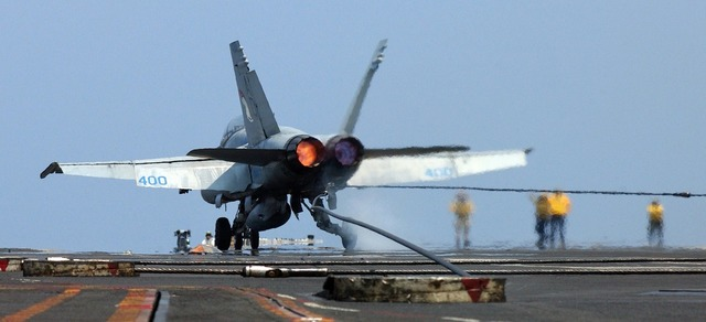 Jet aircraft landing.