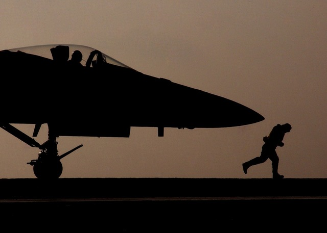 Jet military silhouette.