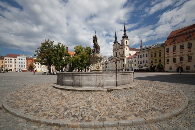 Jihlava church fountain, religion.