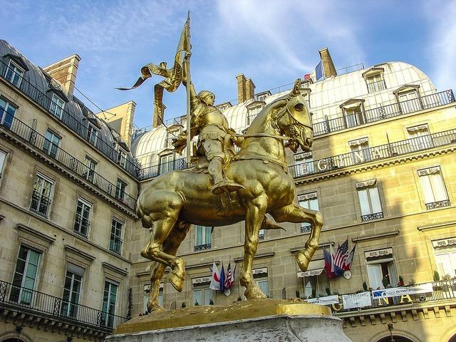 Joan of arc statue paris, architecture buildings.