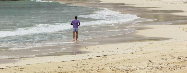 Jogging beach runner, travel vacation.