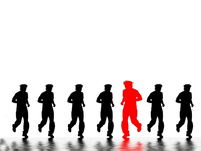 Jogging runners silhouettes.