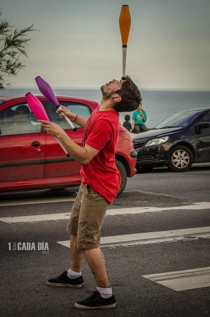 Juggler juggling street artist, travel vacation.